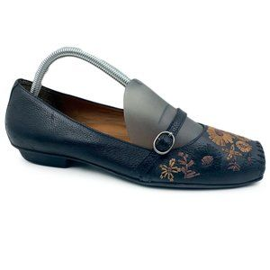 Nurture Leather Bloom Embroidered Mary Jane Flats